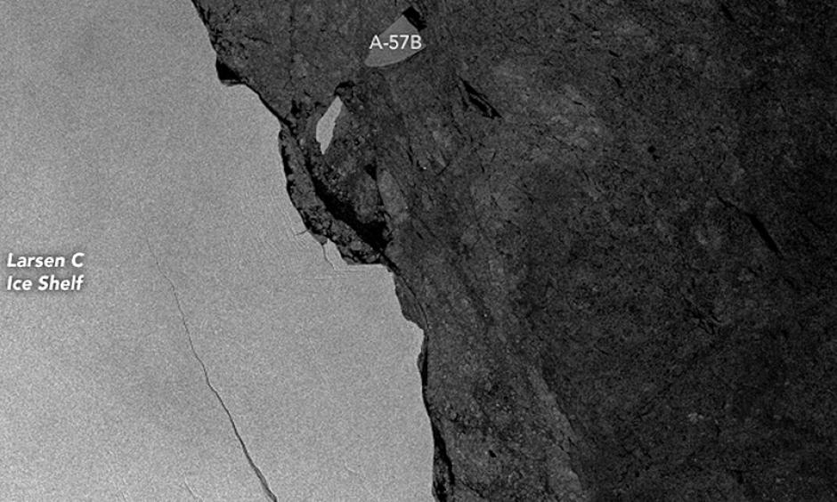A massive iceberg calved from the Larsen C ice shelf in Antarctica in July. Image: NASA