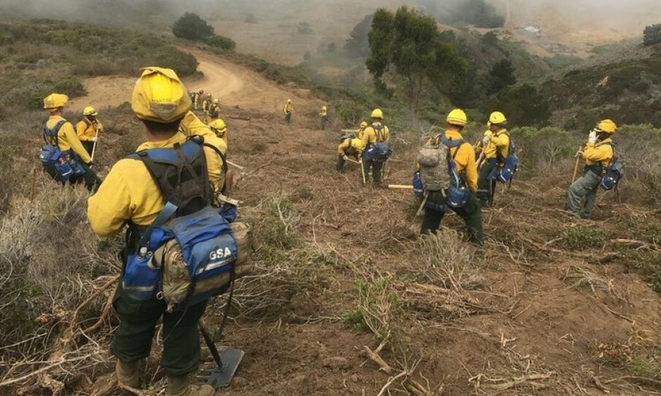 A crew assesses the Soberanes Fire south of Monterey, California. Photo: California National Guard