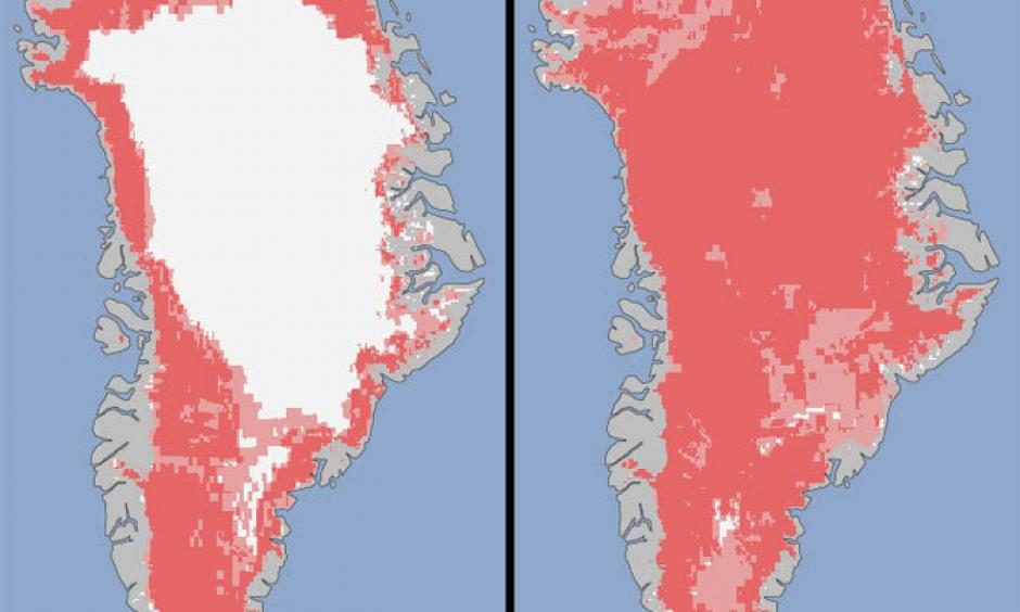 About 40 percent of Greenland's ice sheet thawed at or near the surface on July 8. Four days later, the melt had dramatically accelerated and an estimated 97 percent of the ice sheet surface had thawed. Image: Nicolo E. DiGirolamo, SSAI/NASA GSFC, and Jesse Allen, NASA Earth Observatory