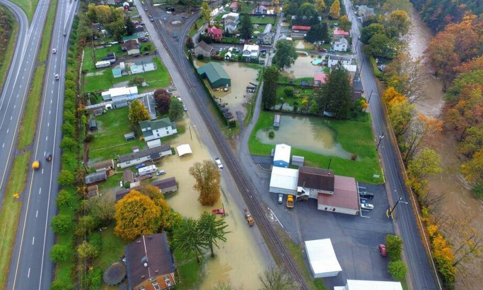 This is an aerial picture of Milesburg, which experienced flooding Friday. Photo: Justin Melanson