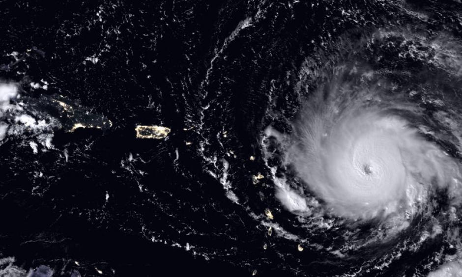 Hurricane Irma reached wind speeds of almost 300 kilometres per hour in September 2017. Image: Joshua Stevens & Jesse Allen, NASA Earth Observatory, NOAA–NASA Suomi NPP