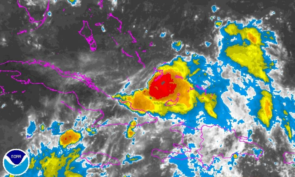 Infrared image of Invest 99L as of 1415Z (10:15 am EDT) Friday, August 26, 2016. Image: NOAA/NESDIS