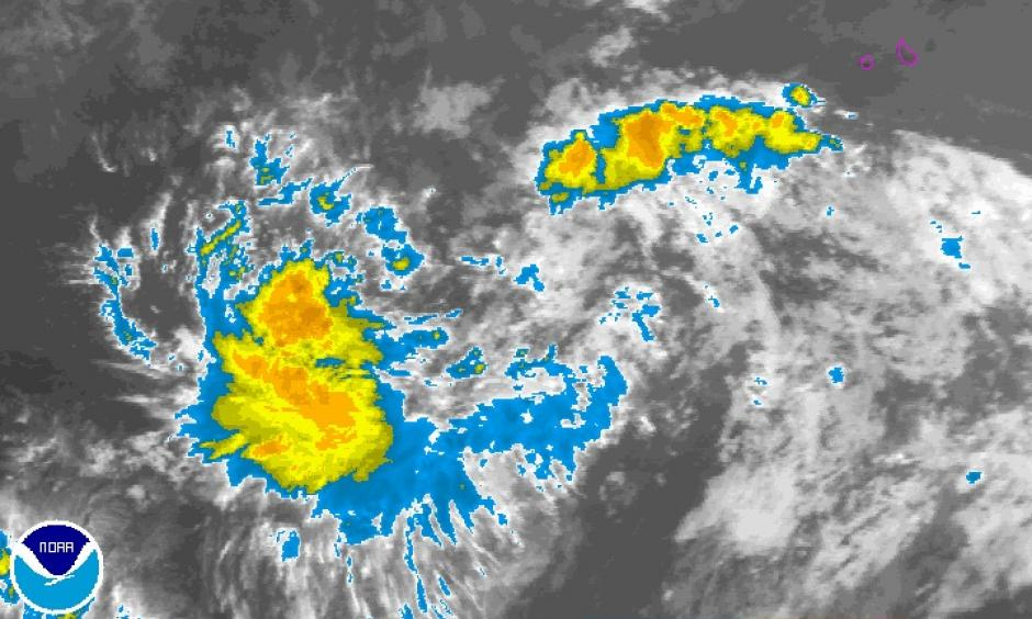 Infrared image of Invest 99L from 1145Z (7:45 am EDT) Friday, August 19, 2016. Image: NOAA/NESDIS