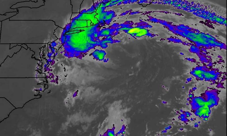 Infrared satellite image of Hermine as of 1337Z (9:37 am EDT) Monday, September 5, 2016. The brightest colors correspond to the coldest (highest) cloud tops, although few of these clouds were producing rainfall over New England except for southeast Massachusetts. Image: NASA/MSFC Earth Science Office