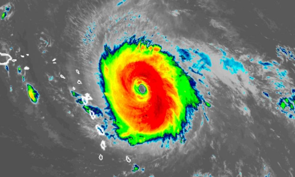 Infrared-wavelength [or visible-wavelength] GOES-16 satellite image of Category 5 Hurricane Irma as of 9 am EDT Tuesday, September 5, 2017. Image: RAMMB / CIRA@CSU