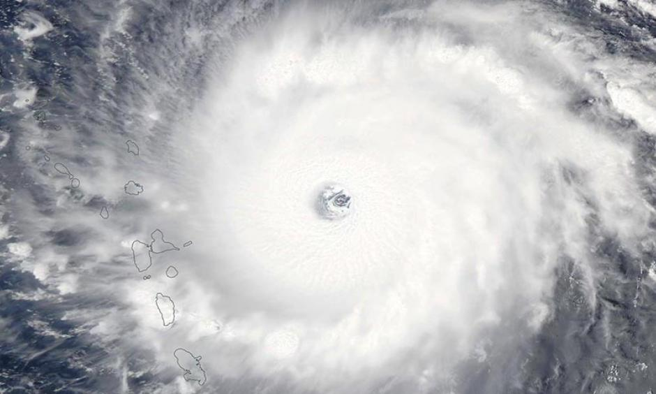 MODIS image of Hurricane Irma taken on Tuesday afternoon, September 5, 2017. At the time, Irma was a Category 5 storm with 185 mph winds. Image: NASA