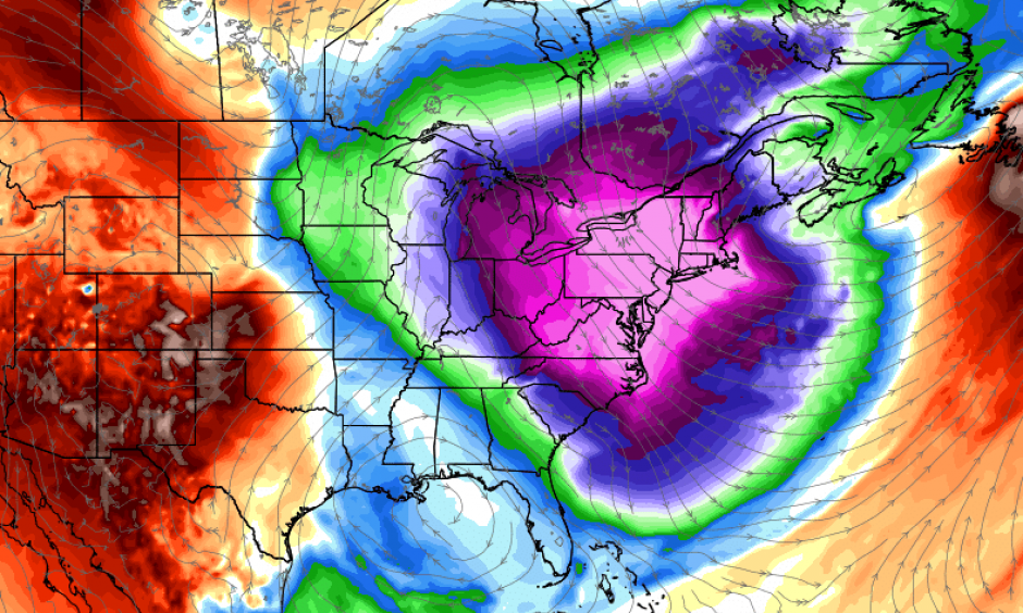 The coldest air of the season will descend on the Northeast this weekend. Photo:weatherbell.com