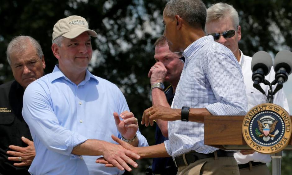 Governor John Bel Edwards of Louisiana meets with President Obama. Photo: TIME