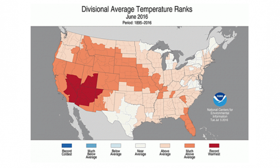 How temperatures across the contiguous U.S. compared to normal during June 2016. Click image to enlarge. Image:: NOAA