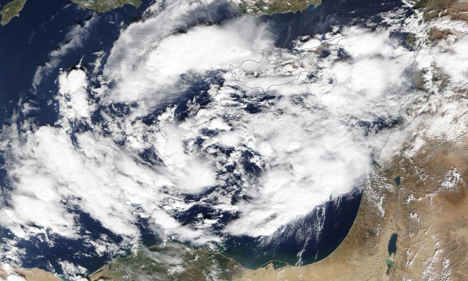 A developing medicane takes shape over the eastern Mediterranean Sea. Credit: NASA