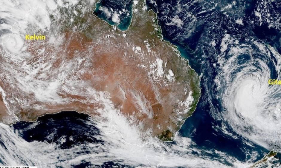 A satellite image from late Saturday, Feb. 18, shows a well-structured Cyclone Kelvin just inland across northwest Australia (left) and a still-impressive Tropical Cyclone Gita (right) churning across the Southwest Pacific en route to New Zealand. Image: UK Met Office, @metofficestorms