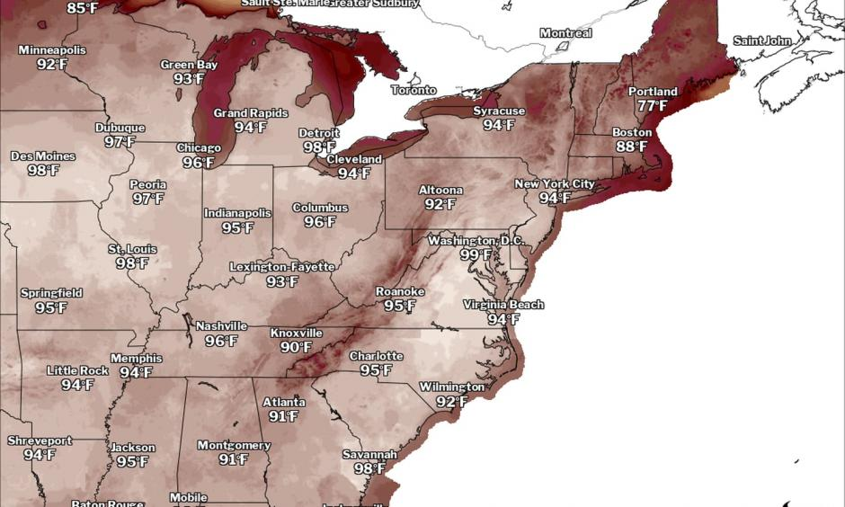 Forecast high temperatures on Friday. Credit: The National Weather Service