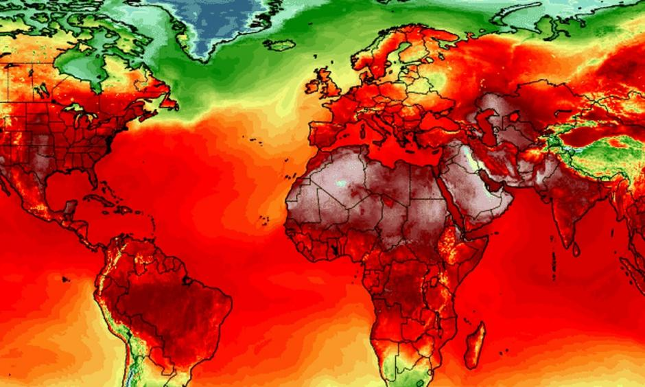 Simulation of maximum temperatures on July 3 from American (GFS) weather model at two meters above the ground. Image: University of Maine Climate Reanalyzer