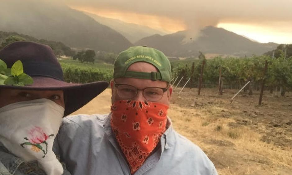 Matt and Katie Shea celebrated their first anniversary at home in the vineyard he managed. Despite an evacuation order, they stayed, to protect their home and the grapes. Photo: Courtesy of the Sheas