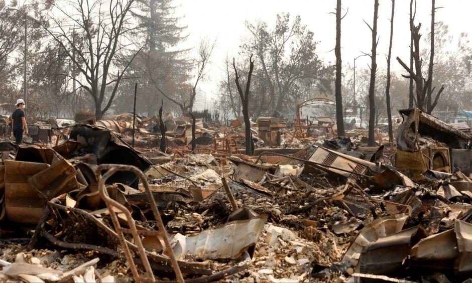 Firestorm ruins in Santa Rosa, California on October 18. Photo: Los Angeles Times
