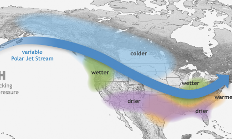 The weather pattern known as La Niña brings wetter weather to the Pacific Northwest but drier conditions to Southern California. Image: National Oceanic and Atmospheric Administration