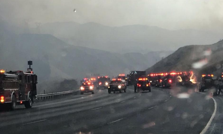 Rain falls after lightning strikes sparked fires on Interstate 5. Photo: L.A. County Sheriff's Department