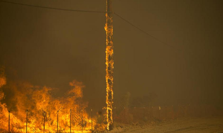 A power pole burns as the Blue Cut fire rages along both sides of Highway 138 in Summit Valley. Photo: Gina Ferazzi / Los Angeles Times