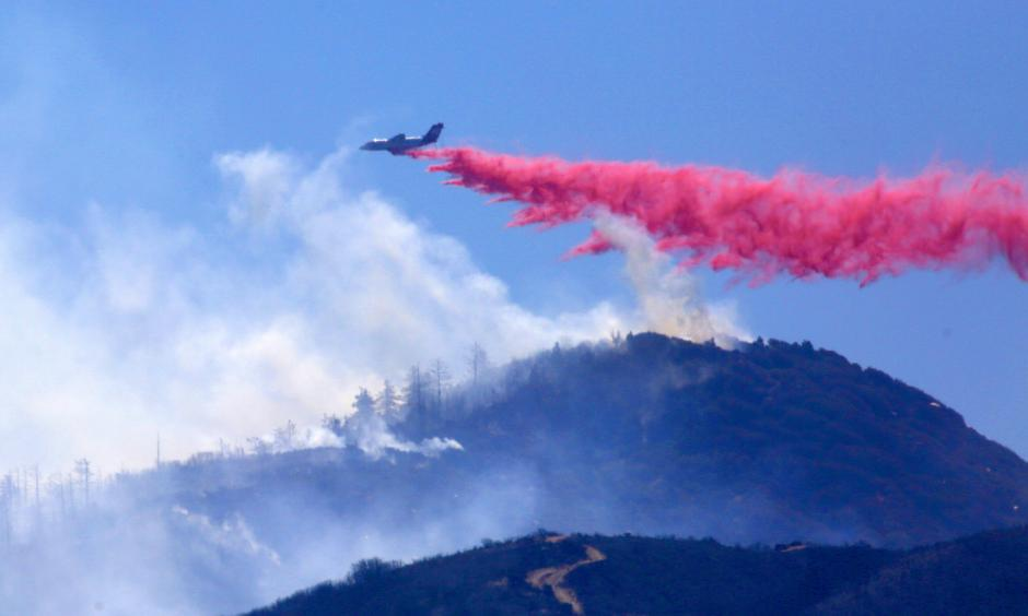 The Pilot fire continues to grow in the mountains of San Bernardino County. Photo: Los Angeles Times