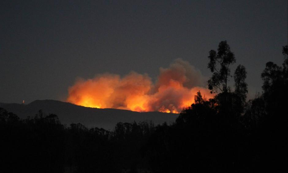 A wildfire broke out Saturday in a remote canyon at the southern end of Vandenberg Air Force Base in Santa Barbara County, officials said. Photo: U.S. Air Force