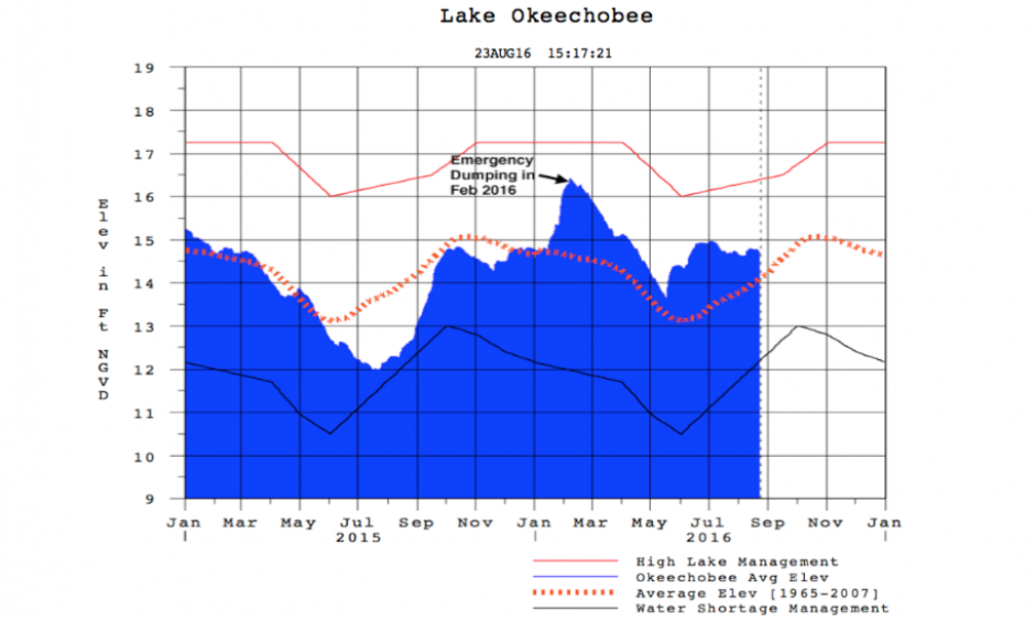 Water level of Florida's Lake Okeechobee between January 2015 and August 23, 2016. Heavy winter El Niño rains forced emergency dumping in February, and dumping at a slower rate has continued all year. The Army Corps tries to keep the lake level below 15.5'; the dike surrounding the lake is in danger of failure when the lake level hits 18.5'. As of August 23, 2016, the lake level was 14.7'. Lake Okeechobee reached an elevation of 18.6' and 18.5'--both 1-in-30-year events--in 1995 and 1998. Image: USACE
