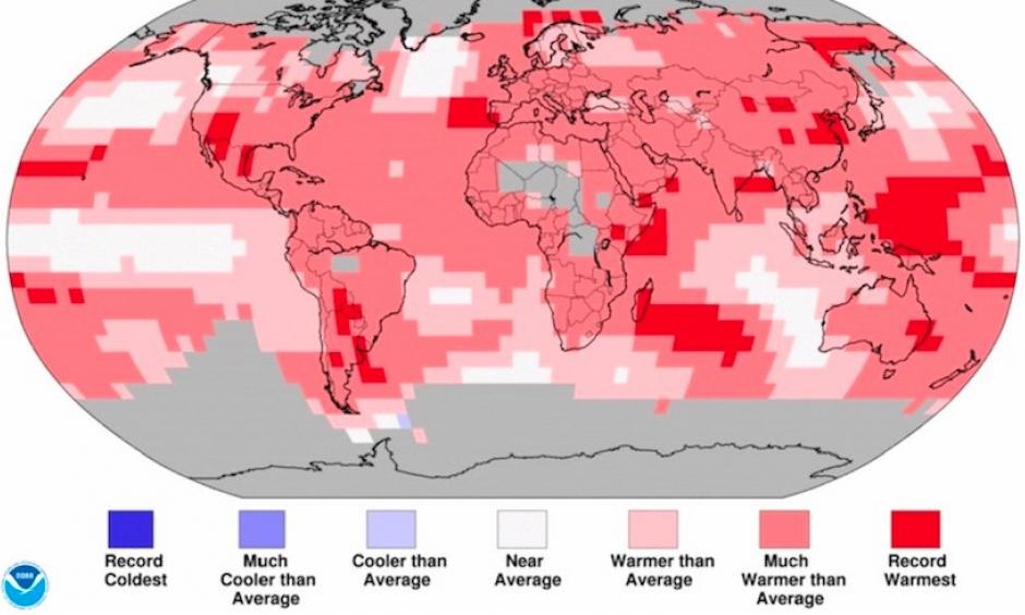 Temperature percentiles for land and ocean areas across Earth for the year 2017, as compared to the entire period from 1880 to 2017. Areas in darkest red had the warmest annual temperatures in 2017 of any year on record. Image credit: NOAA