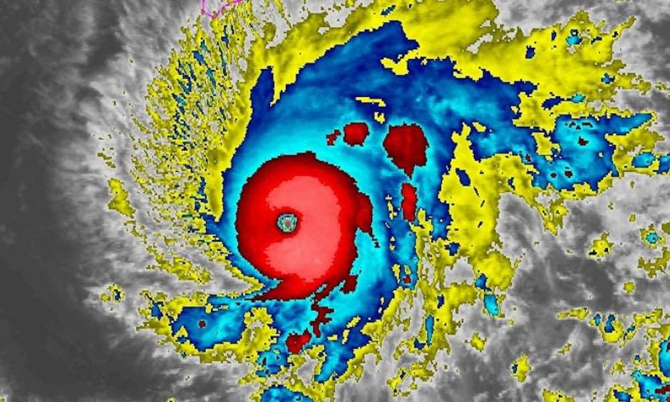 Enhanced infrared image of Hurricane Lane at 0400Z Wednesday, August 21, 2018 (midnight Tuesday night EDT). The southernmost part of the Big Island is outlined in pink at top center. Credit: NOAA/NESDIS