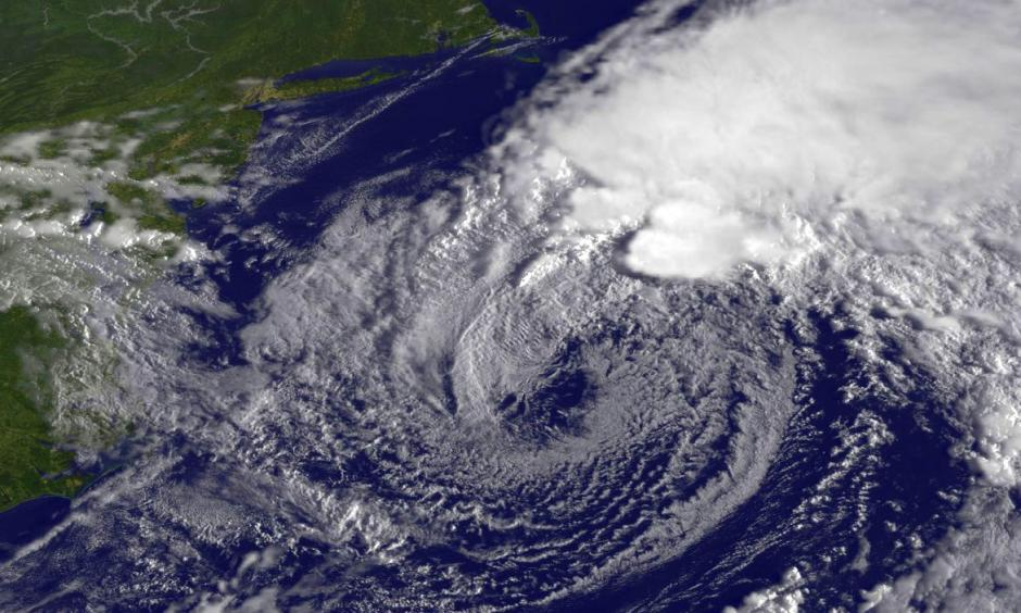 Satellite view of Hermine off the Atlantic coast this morning. Image: NASA