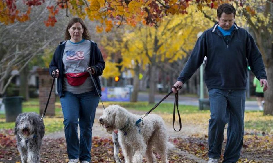 """Amy and Reed Borchers of Carmichael walked their dogs in McKinley Park Sunday, saying they had """"cabin fever"""" after the past few days of rain. Photo: Lezlie Sterling"""