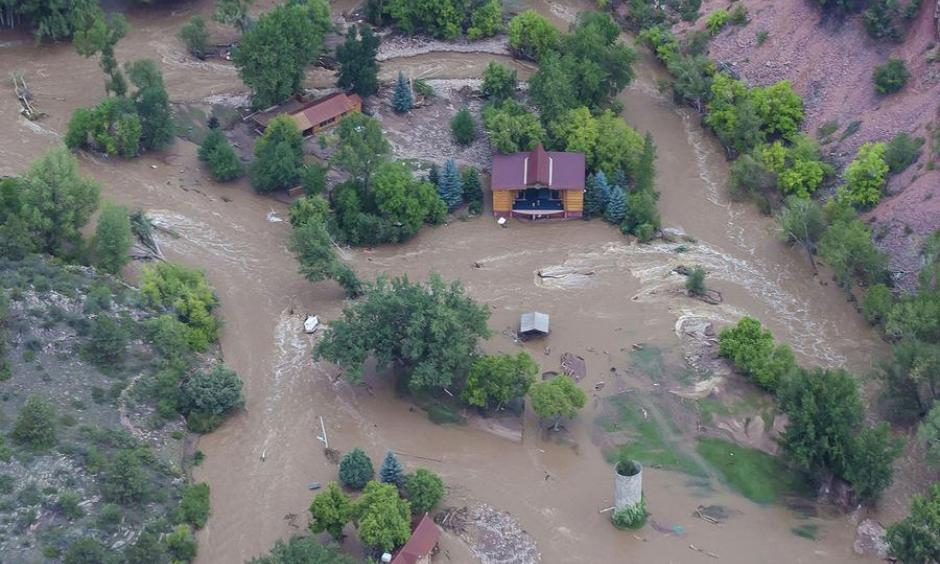 Structural damage along the Big Thompson River and Highway 34, taken from a Colorado Air National Guard helicopter. Photo: U.S. Air National Guard