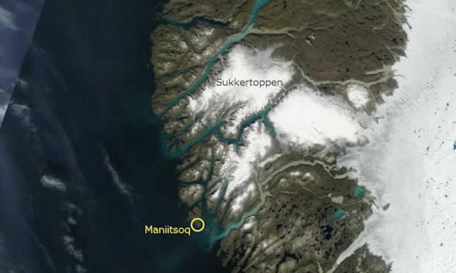 Satellite photo of the area around Maniitsoq and Sugar Loaf Mountain on Tuesday 30 July 2013. Photo: NASA's Terra satellite