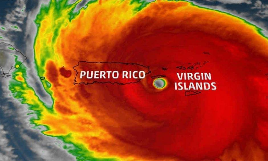 Satellite imagery shows Hurricane Maria nearing landfall in Puerto Rico on the morning of Sept. 20, 2017. Image: The Weather Channel