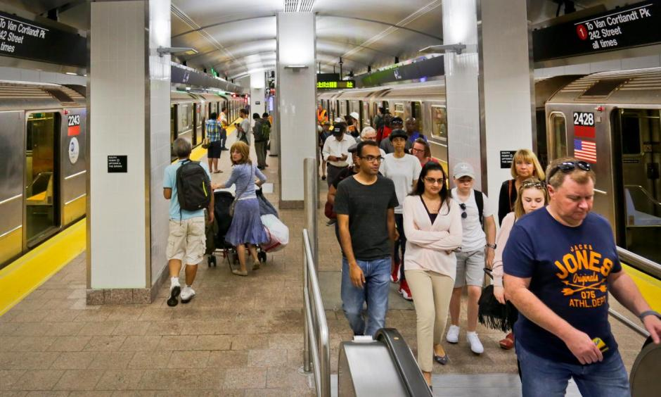 Passengers leave the No. 1 train at the South Ferry Station, Tuesday June 27, 2017, in New York. The station reopened Tuesday, nearly five years after it was flooded by Superstorm Sandy in October 2012. Photo, Bebeto Matthews