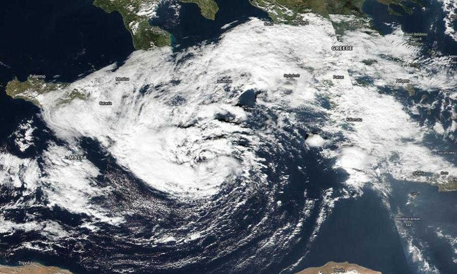High-resolution visible image from the Suomi NPP satellite of the Mediterranean Sea tropical cyclone on October 30, 2016. Image: NASA Worldview