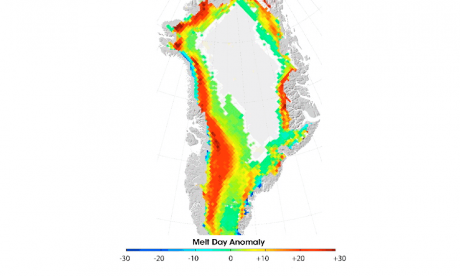 Difference between the number of melt days in 2011 and the average number of melt days during the period 1979 - 2010. Large sections of the island experienced twenty more days with melting conditions than average. Image: Arctic Report Card