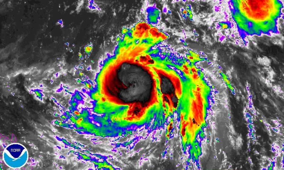 Enhanced infrared image from the Himiwari-8 satellite of Typhoon Meranti at 1500Z (11:00 am EDT) Sunday, September 11, 2016. Image: NOAA/NESDIS