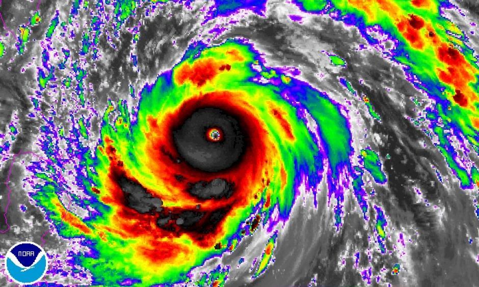 Enhanced infrared satellite image from Japan's Himiwari-8 satellite of Typhoon Meranti at 1500Z (11:00 am EDT) Monday, September 12, 2016. Image: NOAA/NESDIS