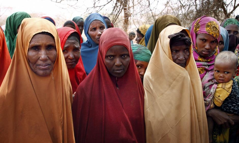 Zainab Taher, Halima Idriss Ahmed and Kira Ali describe how failed rains meant the death of their animals and a retreat to this camp for the displaced in Ethiopia's Somali region. Photo: Paul Schemm, Washington Post