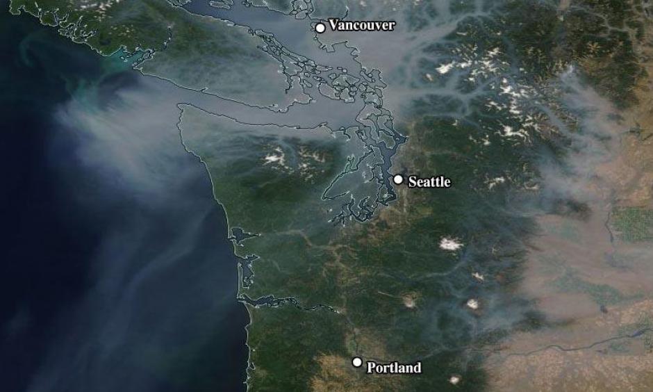 MODIS image of smoke over the Northwest U.S. and British Columbia on Wednesday morning, August 2, 2017. Image: NASA