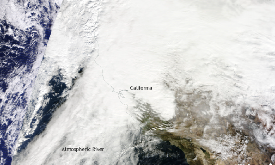 Satellite image taken on January 8, 2017. Heavy rains and snow battered California during a multi-day atmospheric river event. Image: NASA MODIS/TERRA satellite