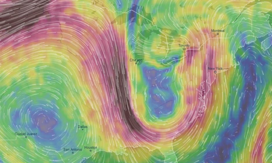 Simulation of jet stream pattern July 22. Credit: VentuSky.com