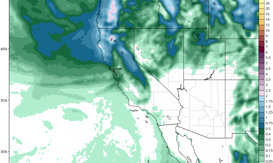 A forecast for April 21 through 25 showing substantial precipitation accumulations north of San Francisco but virtually nothing in SoCal. Image: NCEP via tropicaltidbits.com