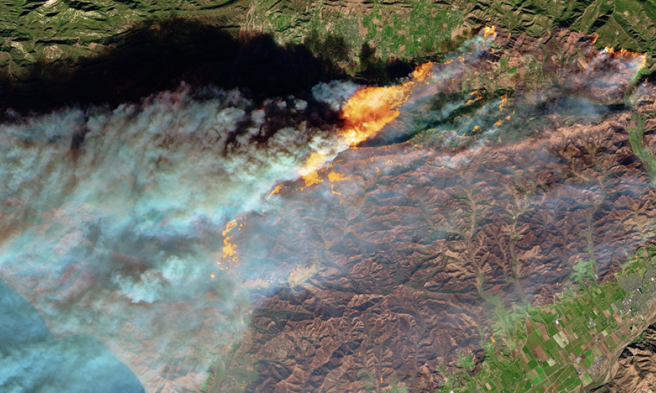 The Multi Spectral Imager of the European Space Agency's Sentinel-2 satellite captured this false-color image of the burn scar and active burn areas of the Thomas Fire in Southern California on Tuesday, December 5, during its first phase of rapid growth. Image: NASA