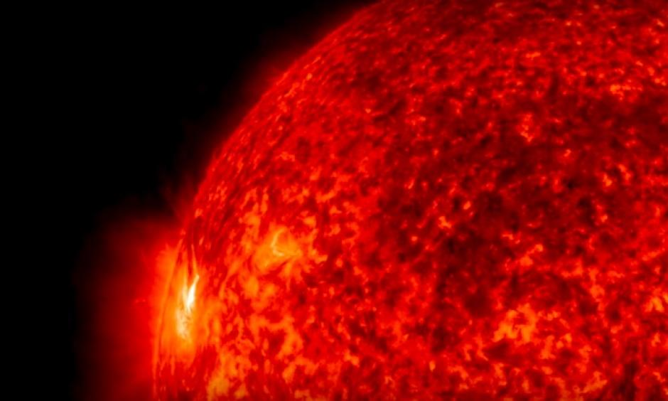 Solar material bursts from the sun in this close-up from a video captured on July 9-10, 2016, by NASA's Solar Dynamics Observatory, or SDO. The imagery is colorized here in red for easy viewing. Image: NASA/SDO/GSFC/Joy Ng