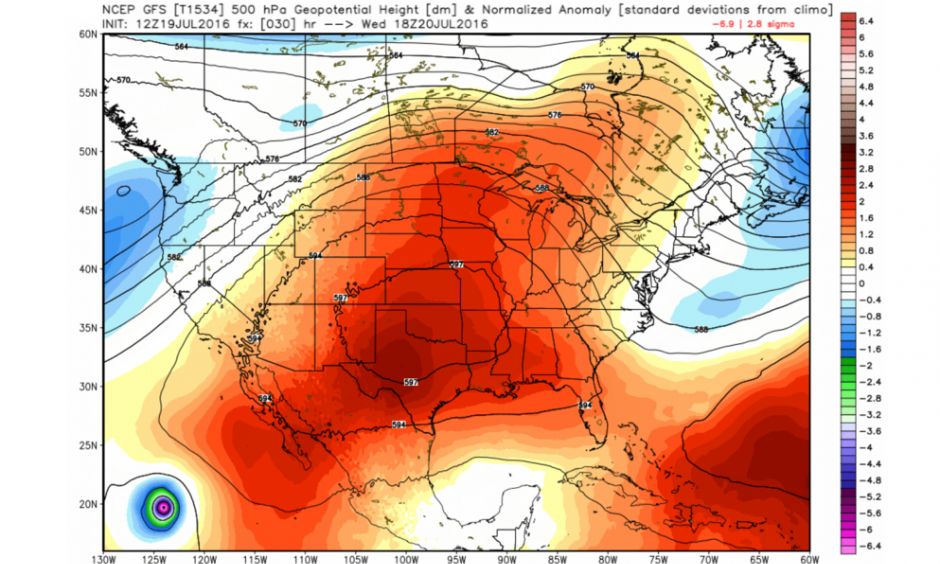GFS model simulation of the heat dome centered on the South Central United States on Wednesday. Image: WeatherBell