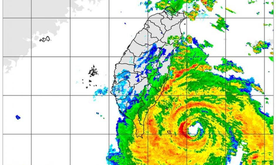 Radar image of Super Typhoon Nepartak taken at 11:30 am EDT July 7, 2016 (11:30 pm local time in Taiwan.) Image: cwb.gov.tw