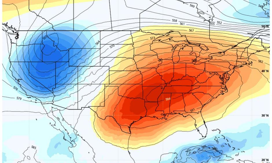 Mid-July heat stifles 131 million during early fall. A heat dome over the eastern half of the nation is bringing high temperatures characteristic of July. Credit: Weather Bell