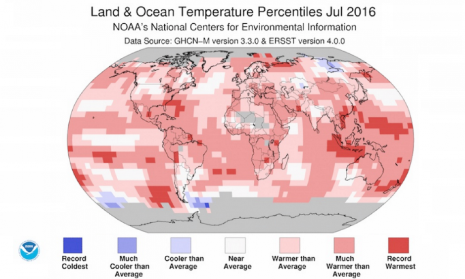 Departure of temperature from average for July 2016, the warmest July for the globe since record keeping began in 1880. Pockets of record warmth were observed across every major ocean basin and over a few land areas. Image: National Centers for Environmental Information (NCEI)