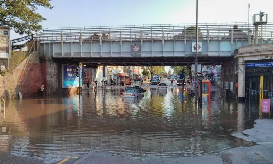 Flash flooding: The scene outside North Harrow station. Photo: Dan Hanley