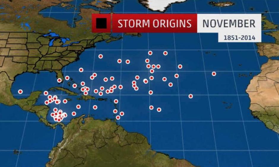 Tropical cyclone origin points for November. Photo: National Hurricane Center